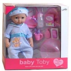 Пупс функциональный в голубом костюмчике Baby Toby