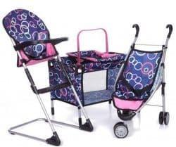 Набор для кукол Melobo (коляска, кроватка, стульчик, автокресло)