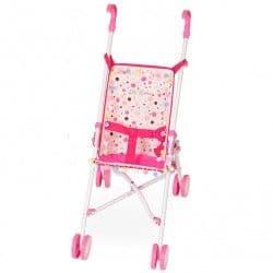 Прогулочная коляска-трость для кукол в горошек 56 см