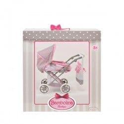 Классическая коляска для куклы Bambolina Boutique с сумкой средняя