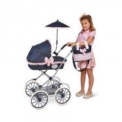 Коляска для кукол Романтик с сумкой и зонтиком 81 см