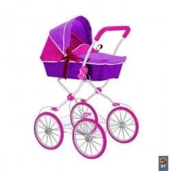 Высокая коляска для кукол 85 см фуксия+фиолетовый