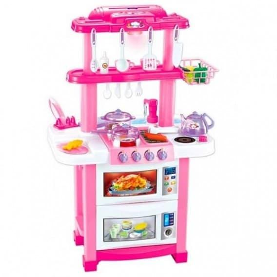 Розовая кухня ZHORYA со светом, звуком и водой 33 элемента