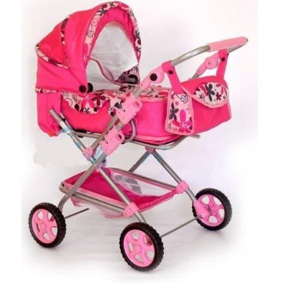 Кукольная коляска GZ Lux розовая в цветочек