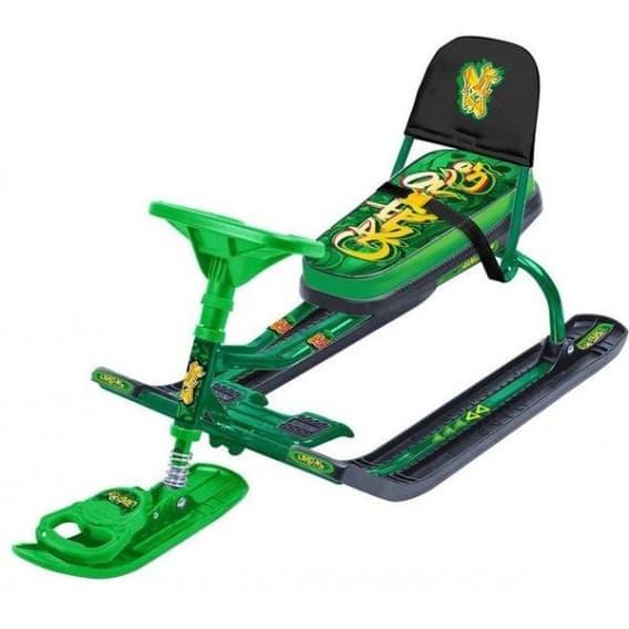 Снегокат Тимка спорт 4-1 Граффити зеленый со спинкой