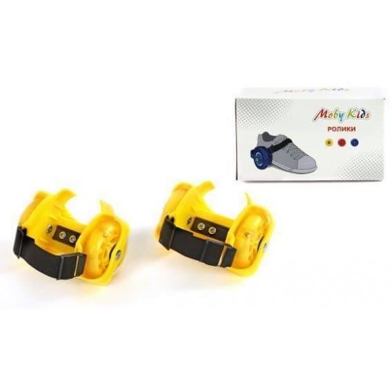 Двухколесные ролики на обувь Moby Kids желтые