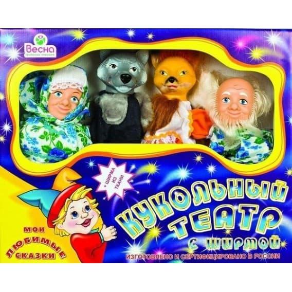 Кукольный театр Весна 4 персонажа с ширмой