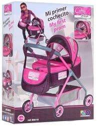 Коляска-люлька для кукол с сумкой City Max розовая 56 см