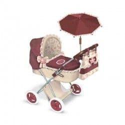 Коляска для кукол Мартина с сумкой и зонтиком гранатово-бежевая 65 см