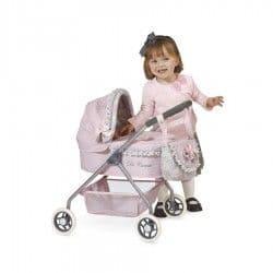 Коляска для кукол Романтик с сумкой розовая 56 см