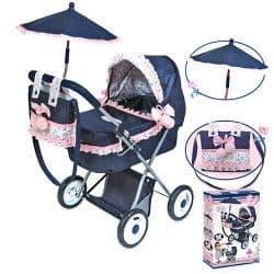 Коляска для куклы Романтик с сумкой 65 см