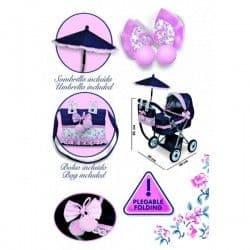 Коляска для кукол Романтик с сумкой и зонтом розовая 65 см