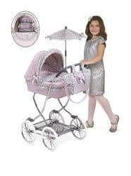 Коляска для кукол Романтик с сумкой и зонтом розовая 90 см