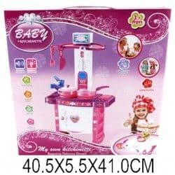 Набор кухня с набором посуды розово-белая, свет, звук
