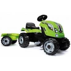 Трактор педальный Smoby XL с прицепом зеленый