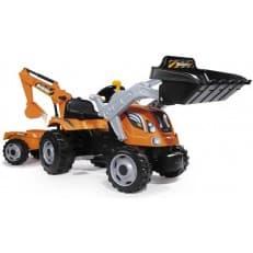 Трактор Smoby педальный строительный с 2-мя ковшами и прицепами