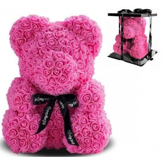 Мишка из роз 40 см + подарочная упаковка