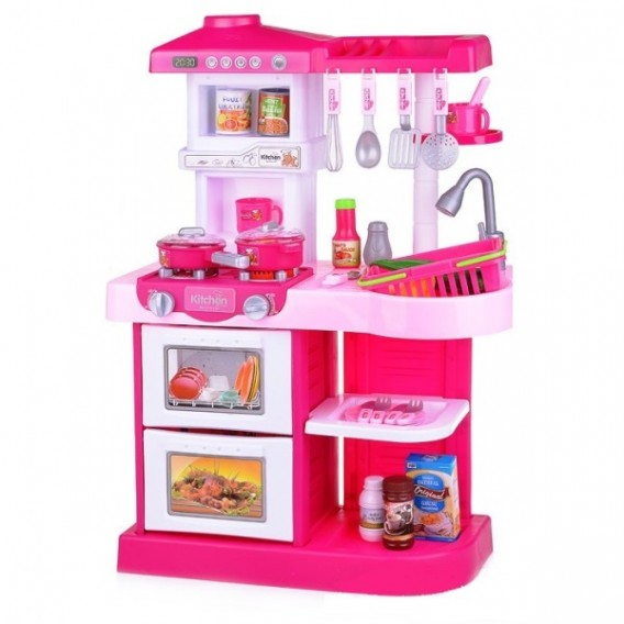 Кухня Как у мамы (свет, звук, вода, 26  предметов), розовая